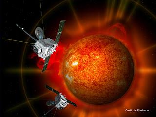 Ilustración artística de las naves espaciales gemelas STEREO orbitando al Sol