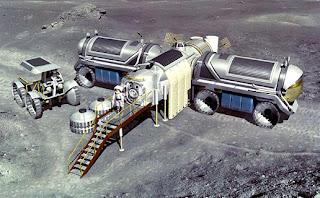 Ilustración artística de una futura base lunar