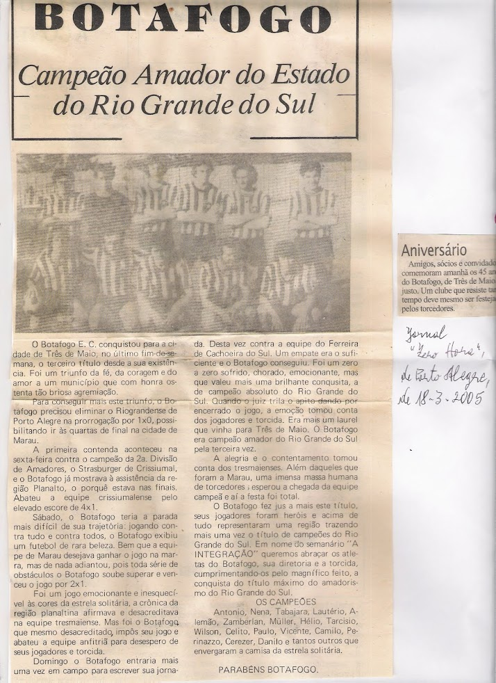 Botafogo E.C Tri Campeão Estadual Amador