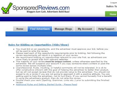 tips sponsoredreviews