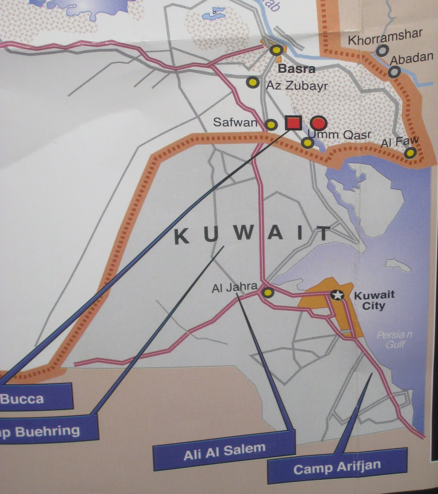 these are photographs of a map that was included in the stars and stripes newspaper a couple of days ago the map is entitled iraq kuwait u s bases