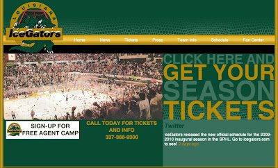Louisiana IceGators web page