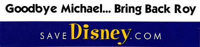 SaveDisney.com bumpuer Sticker with Good Bye Michael... Bring Back Roy slogan
