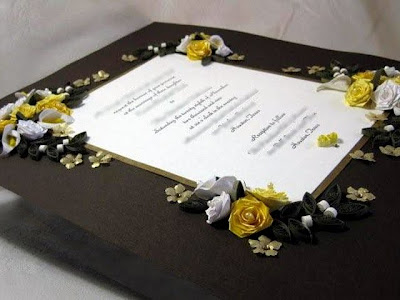 Roses and Laurel Branch Quilled Keepsake Wedding Invitation