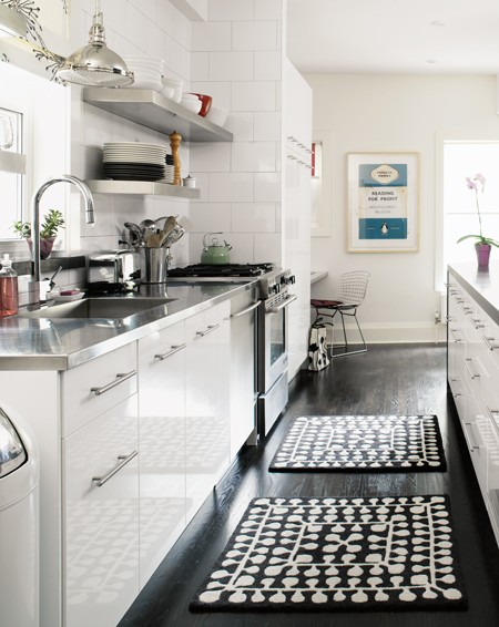 White Kitchens with Dark Floors