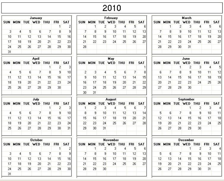 blank calendar template. wallpaper Free 2010 Calendar: