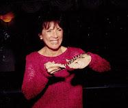 Sara holding a reptile at Brent's Bar Mitzvah
