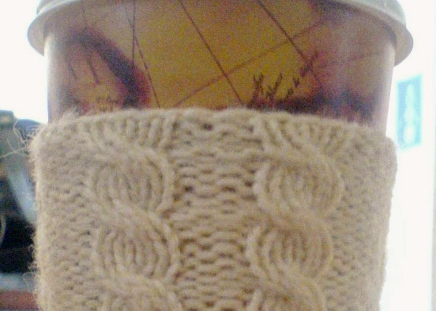 Knittingbug: Free Cabled Cup Cozy Pattern