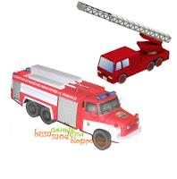 бумажная модель пожарного автомобиля
