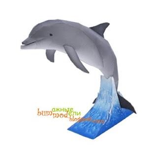 поделка из бумаги дельфин