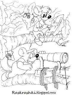 Мышки из мультика про кота Леопольда, раскрашка