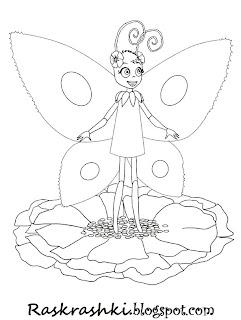 Раскраска бабочки из мультика про Лунтика
