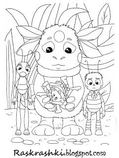Раскраска Лунтик и его друзья
