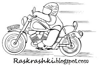 Детская раскраска гонщик на мотоцикле