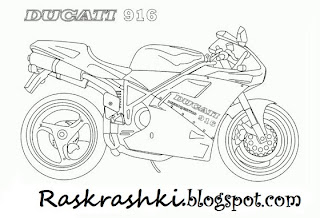 Раскрашка для детей гоночный мотоцикл Дукати