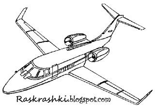 картинка для раскраски самолет