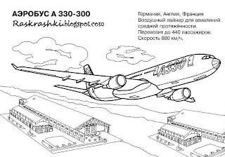 картинка для разукрашивания самолета