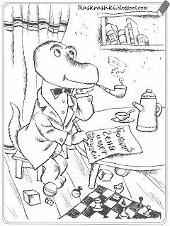 Раскрашка крокодила Гены из Чебурашки