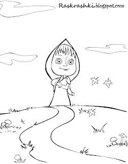 Раскраска Маша из мультика Маша и Медведь