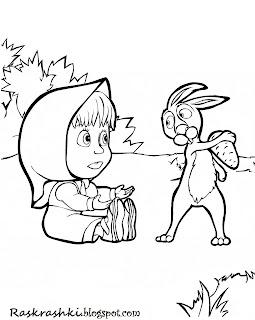 Раскрашка для детей из мультика Маша и медведь