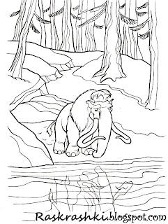 Раскрашка для детей из мультика Ледниковый период