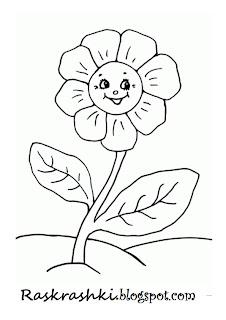 раскрашки цветочки для малышей