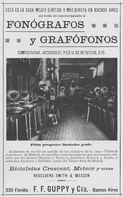 Aviso de 1899 de Guppy y Cia ofreciendo cilindros