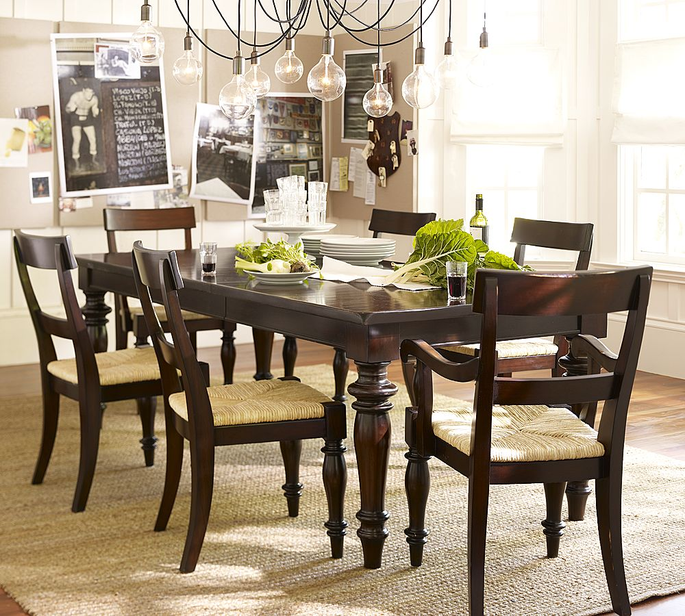 Pottery barn montego turned leg dining table copycatchic for Dining room table decor