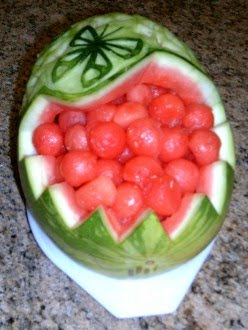 Watermelon carving of butterfly and flowers