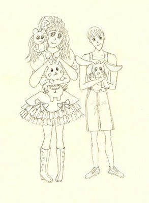 Manga / anime portrait of the kids in black and white