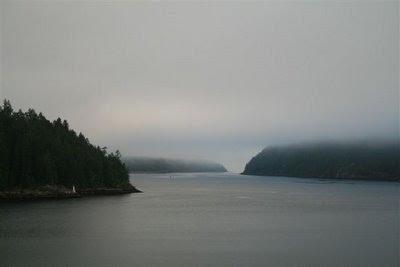 Foggy early morning passage to Port Alberni