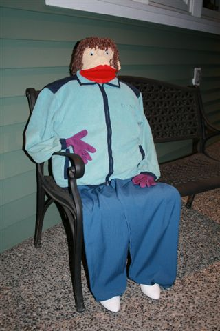 Puppet on bench