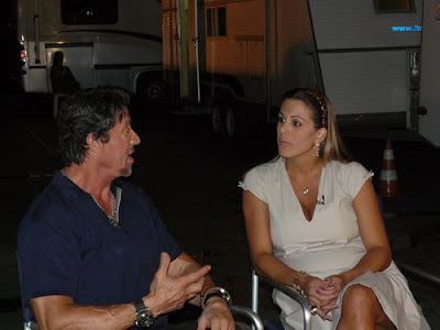 Joana Prado entrevistando Sylvester Stallone