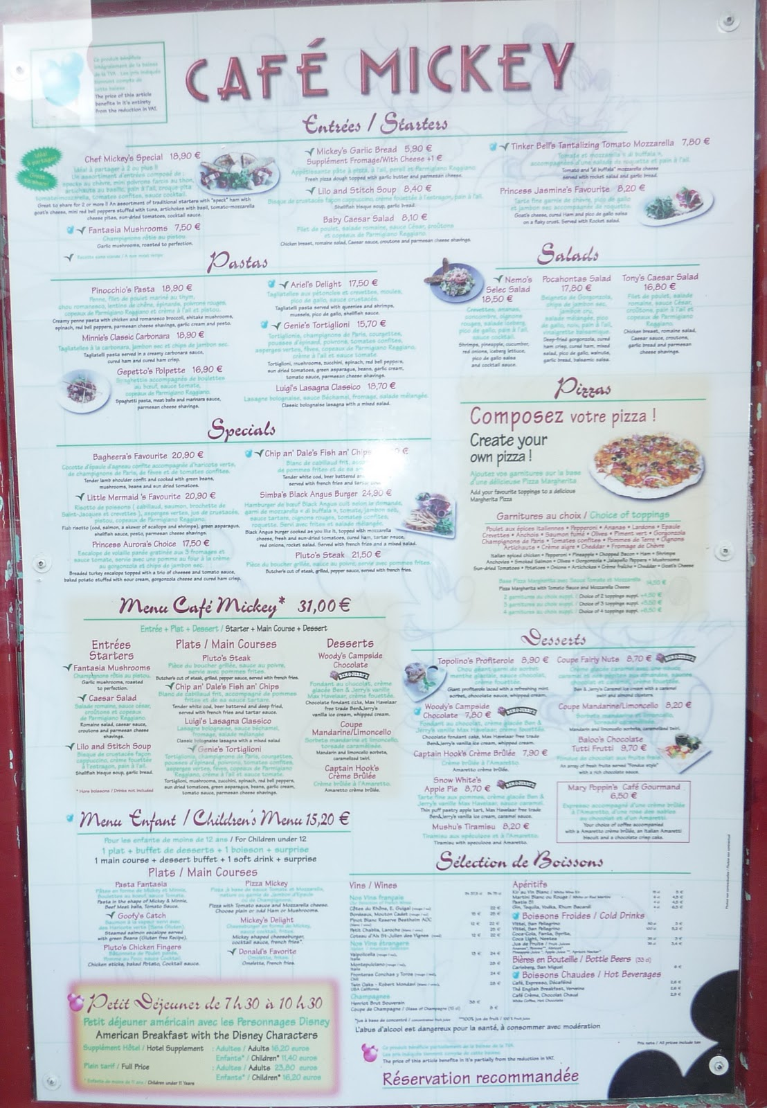 cafe mickey anniversaire tarif