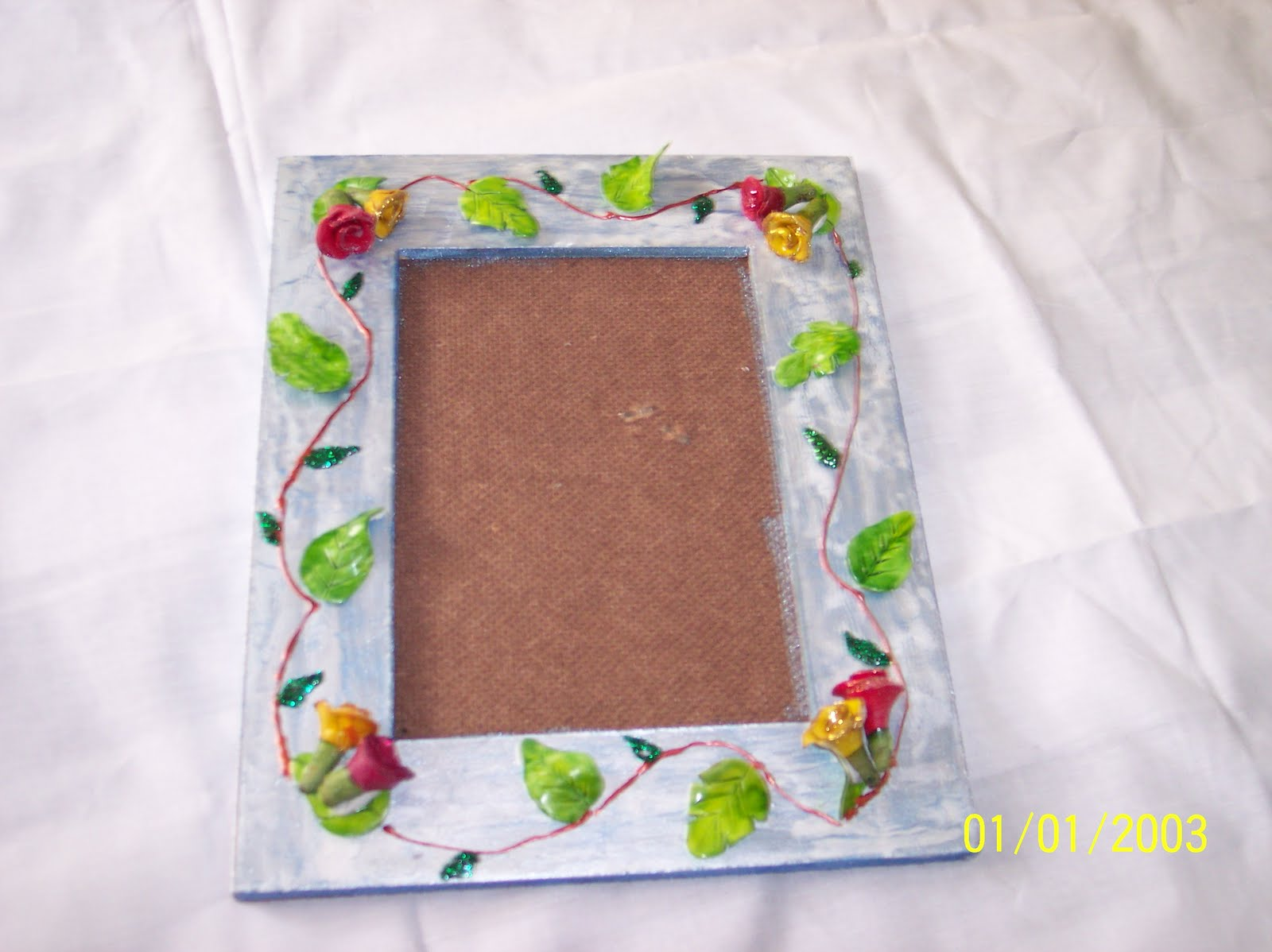 Art craft photo frame m seal work for Mural work using m seal