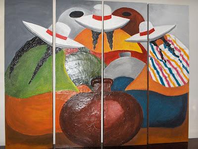 cuadro texturado,cuadro costumbrista,pintura en relieve,decoracion para el hogar