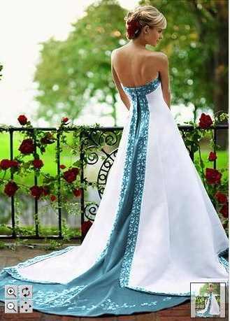 Dream Blue and White Wedding Dress