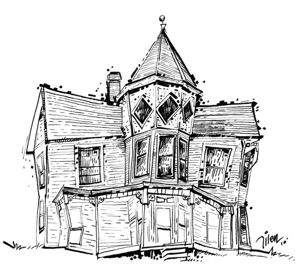 Drawing  Old Houses http://penmarkermagic.blogspot.com/2010/08/line-drawing-1-old-house-i.html