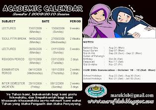 Academic Calendar Sem 1 09/10