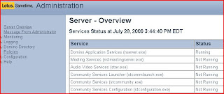 Sametime Admin server Overview showing all is NOT well