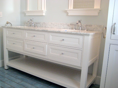 Barn Style Sink : We then added a custom laundry chute cabinet with extra storage for ...