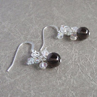 Smoky Quartz Earrings by MagsBeadsCreation