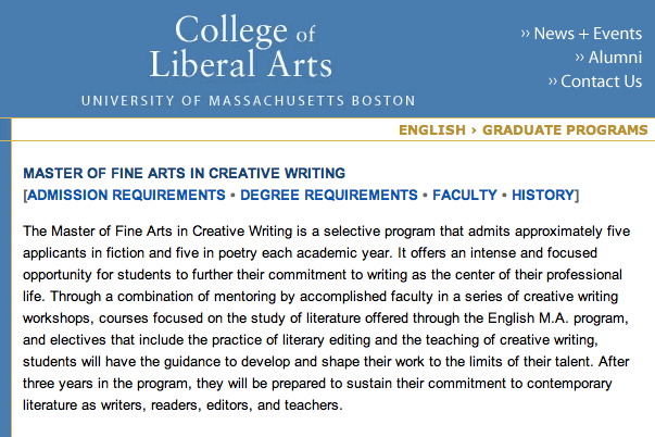 boston u creative writing mfa University of massachusetts boston – a student-centered one of the top-ranked low-residency mfa programs in the country, lesley's mfa program in creative writing.
