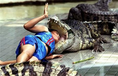 * Cabeça na boca do Crocodilo