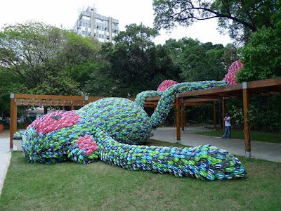 A Sculpture (Fat Monkey) made from flip flops Seen On  www.coolpicturegallery.us