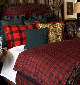 Red And Black Buffalo Check Upholstered Chair With Black Cable Knit Throw Love It This Tartan