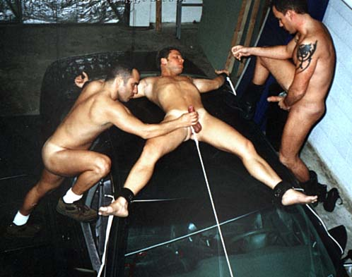 Men eagle naked Bound spread