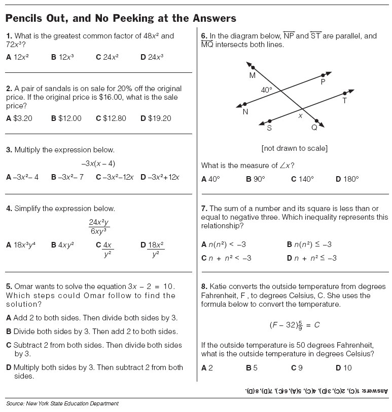 4Th Grade Algebra Worksheets – Math Worksheets for Grade 7 Algebra