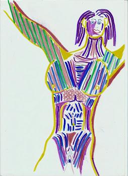 Mujer con predominio del violeta