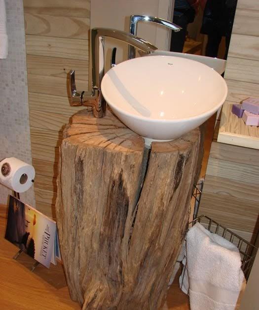 Gharimpando o passado madeira bruta como apoio de lavat rios for Llaves rusticas para lavabo